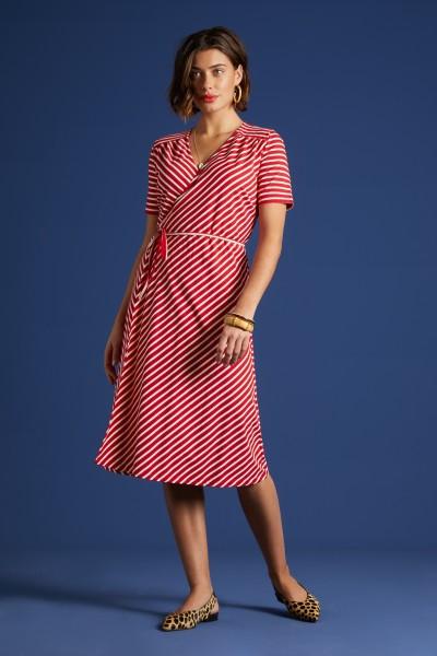 King Louie - Mandy Wrap Dress Breton Stripe, chilli red / 06245655