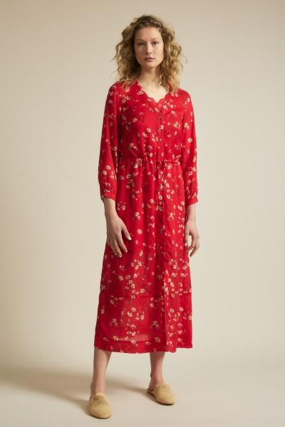 Midikleid Print Moonflower TENCEL™ Lyocell - red