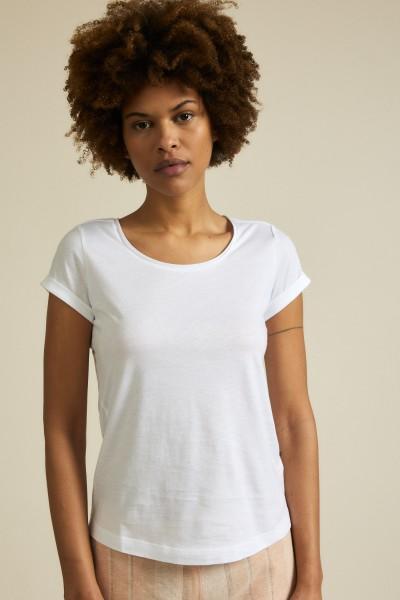 Lanius Kurzarmshirt aus Bio-Baumwolle - weiß