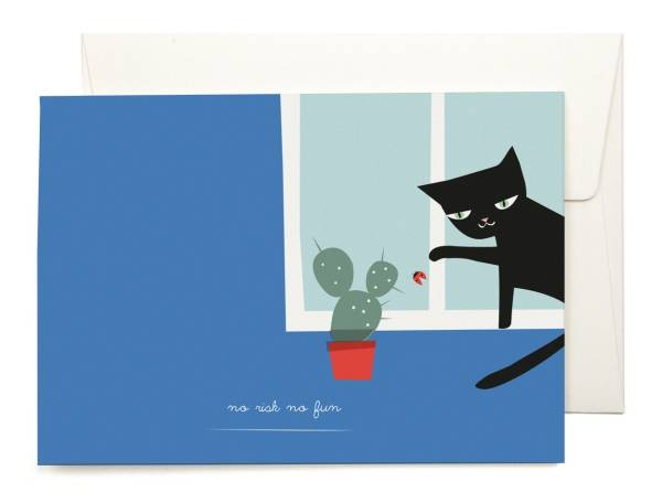 Pleasedtomeet Grußkarte - Katze im Fenster