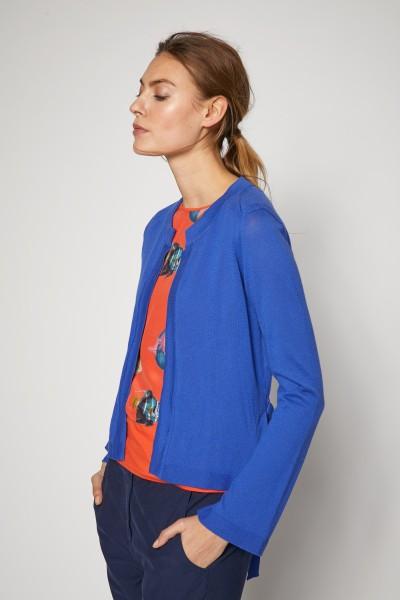 Lanius -Strickjacke aus Biobaumwolle - GOTS - kornblumenblau