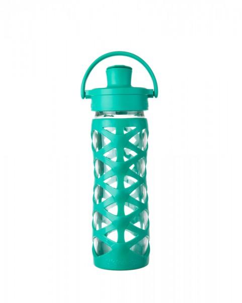 Lifefactory 475ml Life-Factory - Glas-Trinkflaschen mit Active Cap, aquatic green