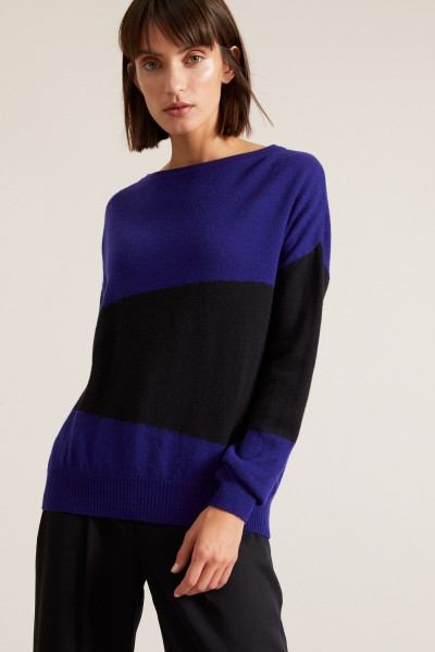 Lanius Colorblock-Pullover black/royal blue