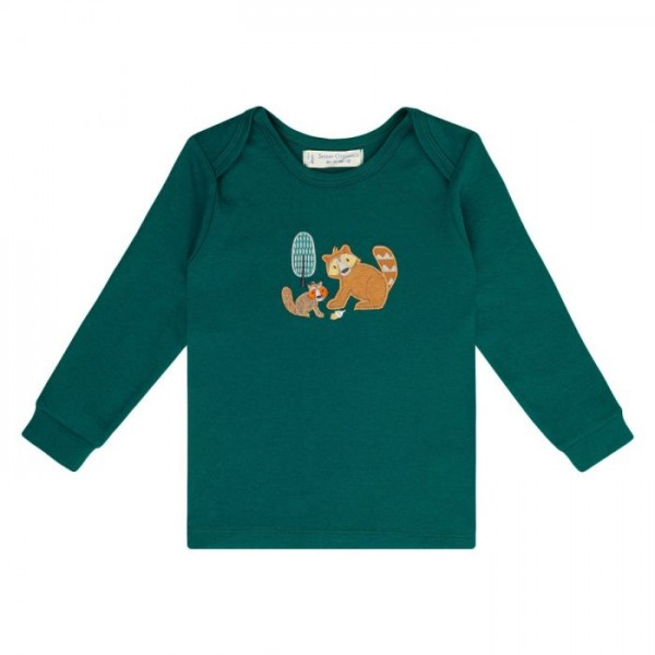 Baby Langarmshirt TIMBER green racoon