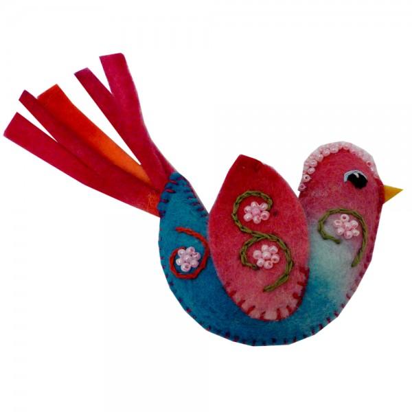 felt art - bunter Vogel mit Schweif, aus Filz und in vielen Farben
