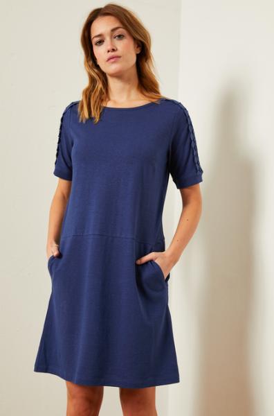 Lanius KLEID mit Spitze aus Hanf mit Bio-Baumwolle_blau