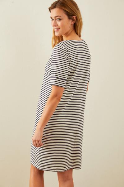 Lanius Kleid mit Streifen aus Bio-Baumwolle GOTS/off white/ink blue