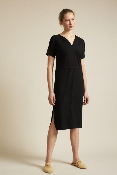 Lanius Kleid mit V-Ausschnitt - schwarz