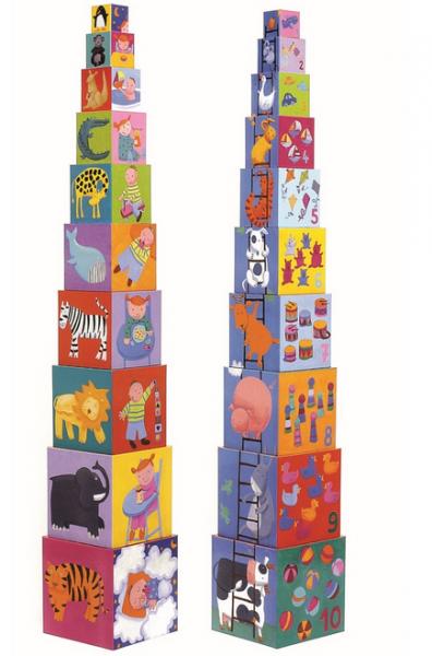 DJECO Stapelturm Funny Blocks, 10 cubes - 12M+