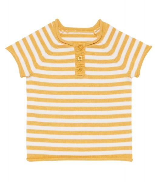 Baby Kurzarmpullover Rene von Sense Organics in Gelb-Weiß-