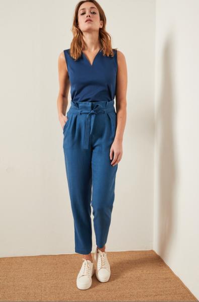 Lanius Paperbag Hose aus Tencel und Leinen in blau
