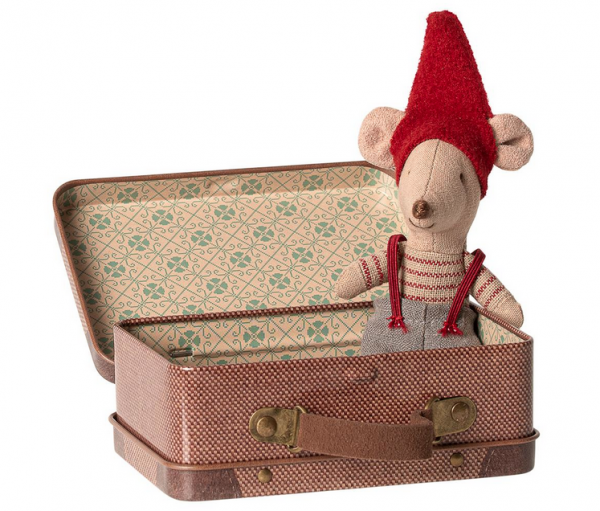 Maileg Mäuse Christmas mouse little brother in suitcase