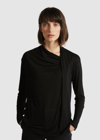 Lanius - shirt mit Drapierung aus TENCEL/ schwarz
