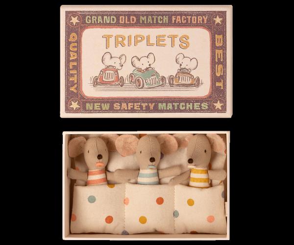 Maileg Mäuse _ Triplets Drillingsmäuse in der Streichholzschachtel