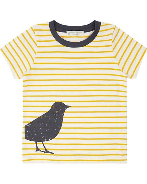 Sense-Organics-Kinder T-Shirt IBON gelbe Streifen mit Vogel