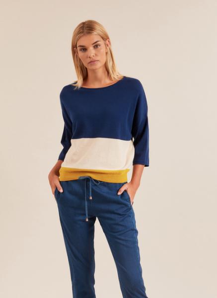 Lanius - Multicolor Pullover 3/4Arm - night blue / kiwi gold
