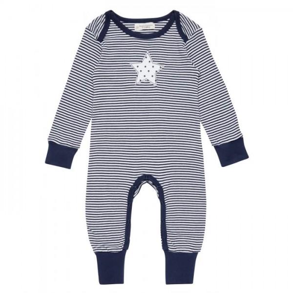 Sense-Organics - WAYAN - Baby geringelter Strampelanzug mit Sternenapplikation