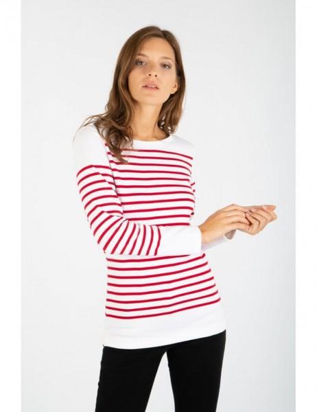 Amiral - Langarm-Shirt im Marine-Stil - aus dicker Baumwolle rot/weiß 07231