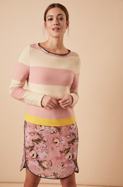 STREIFENPULLOVER aus Bio-Baumwolle GOTS-Farbe: rose/pearl