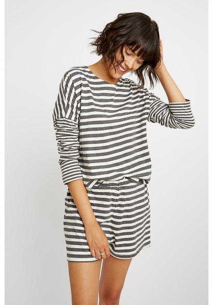 Stripe Pyjama Long Sleeve Top Navy