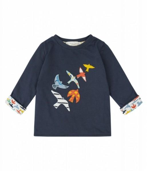 Sense-Organics FELIX Langarmshirt Baby blau mit Vögeln