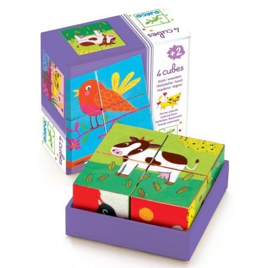 DJECO Würfelpuzzle 4 cubes / bunte Farm