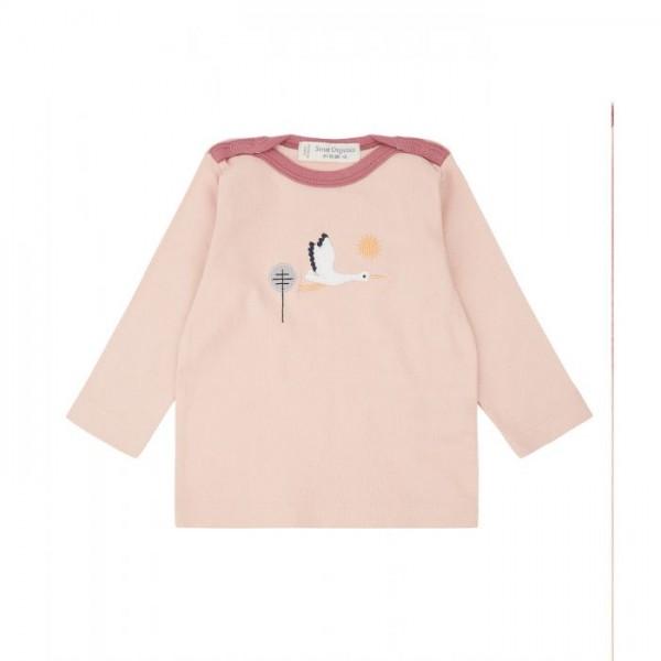 Sense-Organics LUNA Baby shirt rosa mit Storch