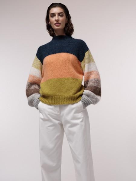 LANIUS Pullover mit Colourblock aus Alpaka Wolle