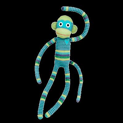 HickUps Sockenaffe XXL mit Streifen in türkis und blau- NEU
