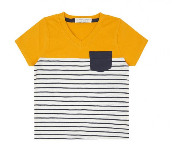 Sense-Organics-Kinder T-Shirt SALVO mit gelben Streifen und Brusttasche