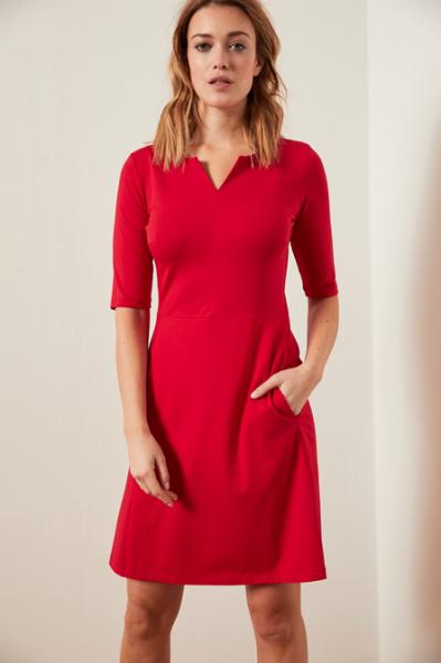 Lanius ETUIKLEID halbarm rot, aus Modal® mit Bio-Baumwolle