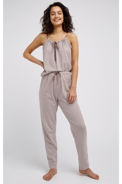 Pyjamahose in beige kupfer gestreift